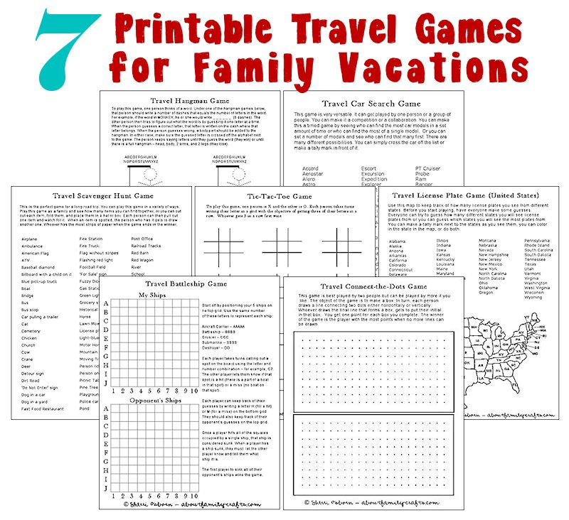 7 Printable Travel Games for Family Vacations