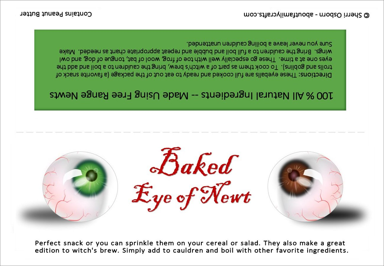 Eye of Newt Treat Printable Bag Tag