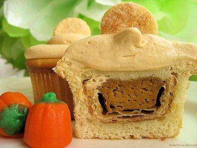 Pumpkin Pie Stuffed Cupcakes