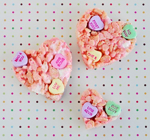 Conversation Heart Rice Krispies Treat Pops Recipes
