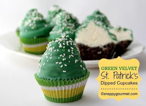 Green Velvet St Patricks Dipped Cupcakes