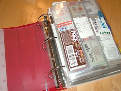 Use a binder to store and organize coupons