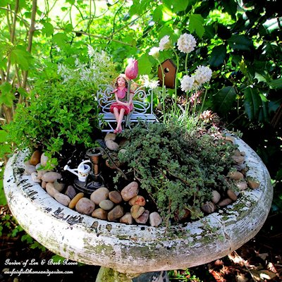 Fairy Garden In A Bird Bath