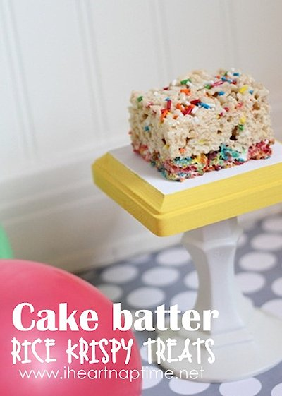 Cake Batter and Fruity Pebble Crispy Treats