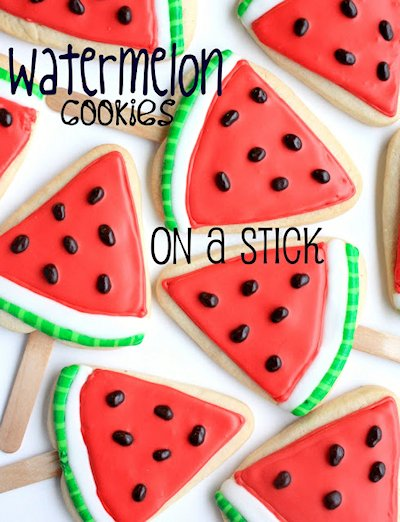 Watermelon Sugar Cookies on a Stick