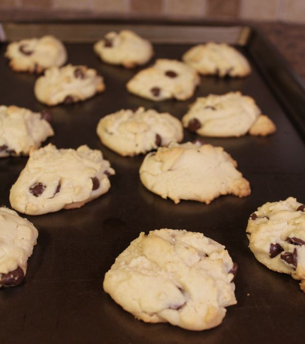 take the chocolate chip cookies out of the oven