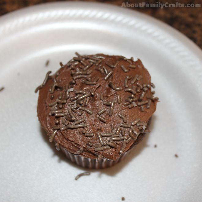 Put chocolate sprinkles on cupcake