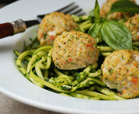 Chicken Veggie Meatballs with Pesto Zucchini Noodles