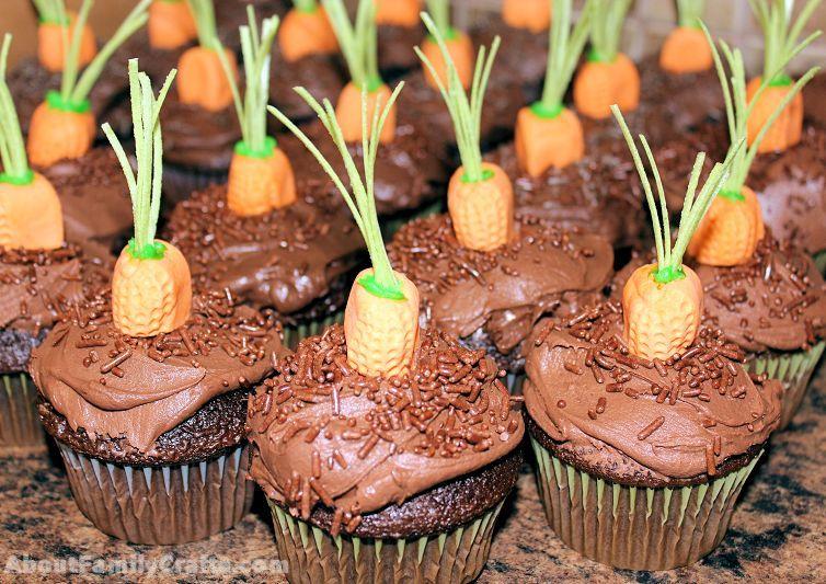 put carrot on cupcake