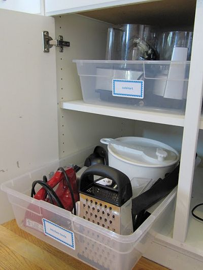 Create roll-out storage using plastic totes