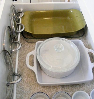 Use a tension rod to hold pot and pan lids