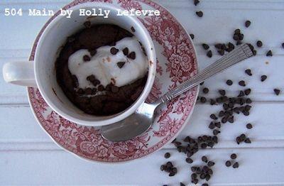 Marshmallow Fudge Cake in a Mug