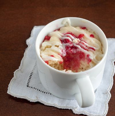 Raspberry Sour Cream Mug Cake