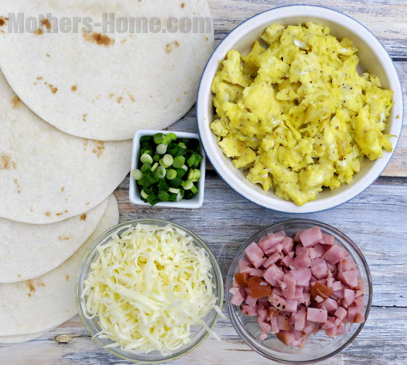 Ham and Cheese Breakfast Quesadillas Ingredients