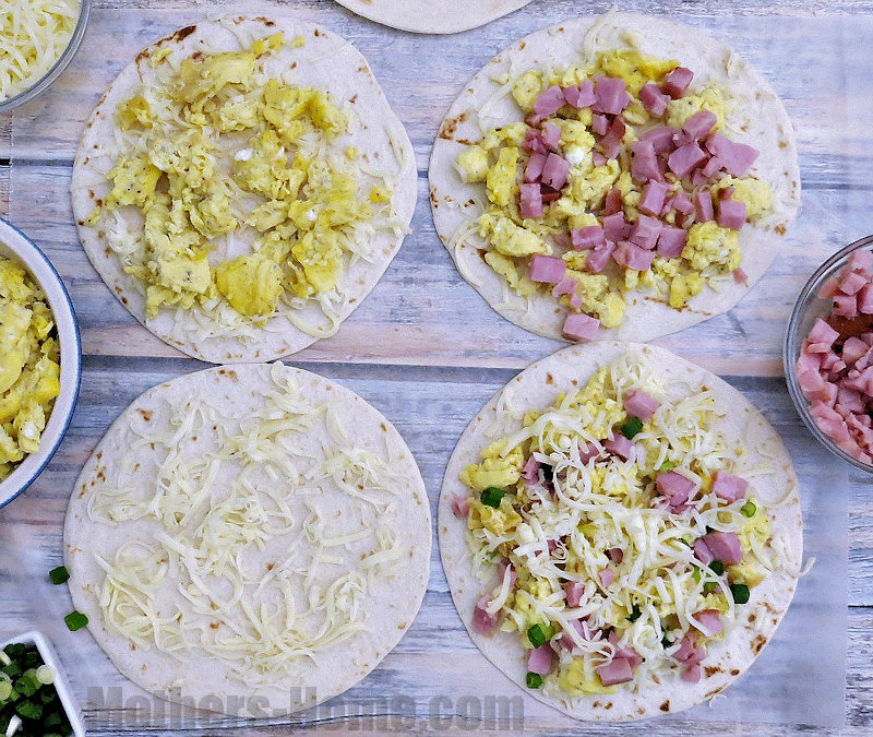 How to assemble the Ham and Cheese Breakfast Quesadillas